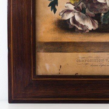 Litografía francesa, composición de flores