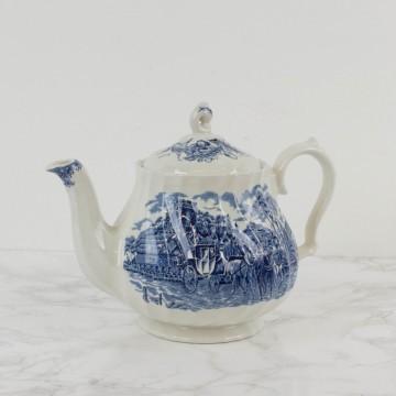 Servicio de te y café inglés en porcelana blanca y azul