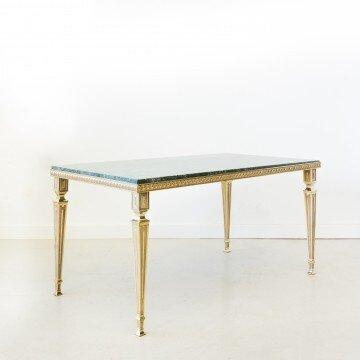 Mesa de centro de latón y mármol verde