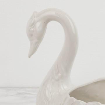 Macetero, forma de cisne blanco