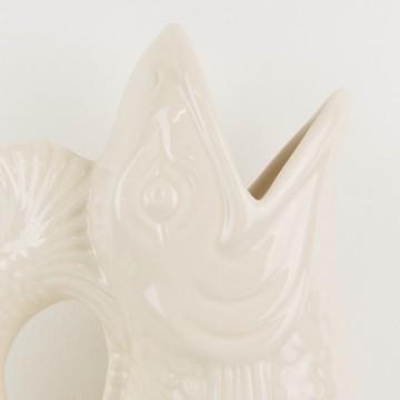 Jarrón blanco portugués con forma de pez
