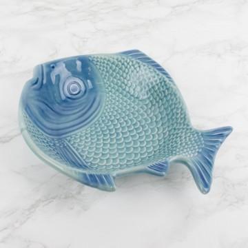 Plato azul portugués, forma de pez