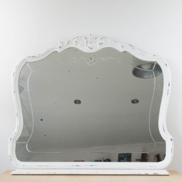 Antiguo espejo isabelino blanco