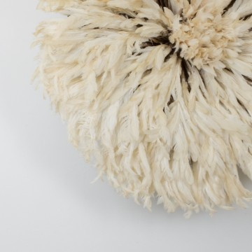 Juju hat o sombrero Bamileke, blanco roto grande
