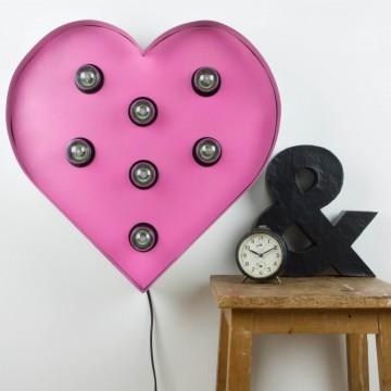 Corazón iluminado rosa