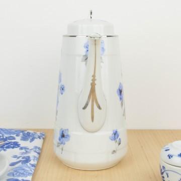 Cafetera de porcelana de Limoges con flores azules