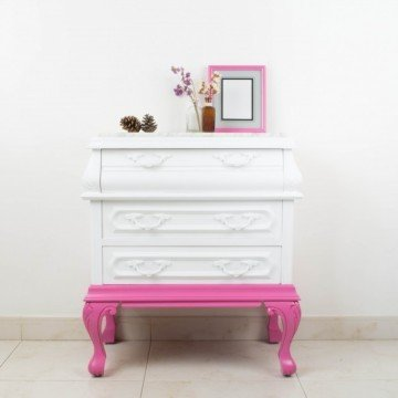 Mesilla de noche Valverde en blanco y rosa