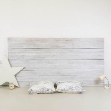 Cabecero de madera rústica acabado envejecido blanco