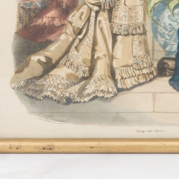 Antigua litografía coloreada francesa de moda