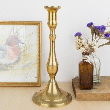 Candelero antiguo de metal dorado