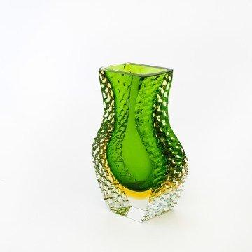 Original jarrón de Murano verde y amarillo