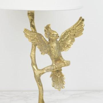 Lámpara de bronce con figura de loro