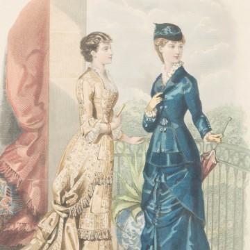 Antigua litografía coloreada francesa de moda