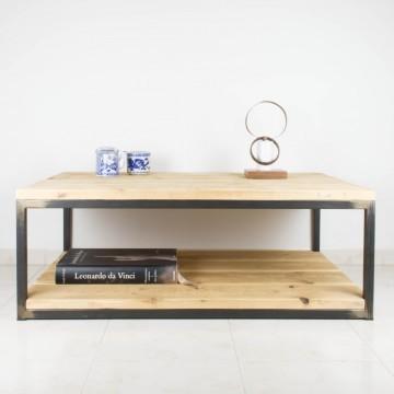 Mesa de centro de hierro y madera de pino recuperada