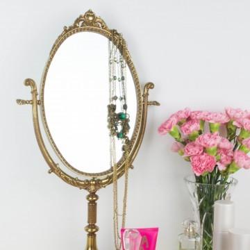 Espejo de tocador de bronce