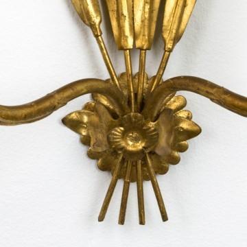 Pareja de apliques franceses de metal dorado