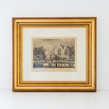 Litografía de Ámsterdam, escena invernal frente a la Iglesia Oude Kerk
