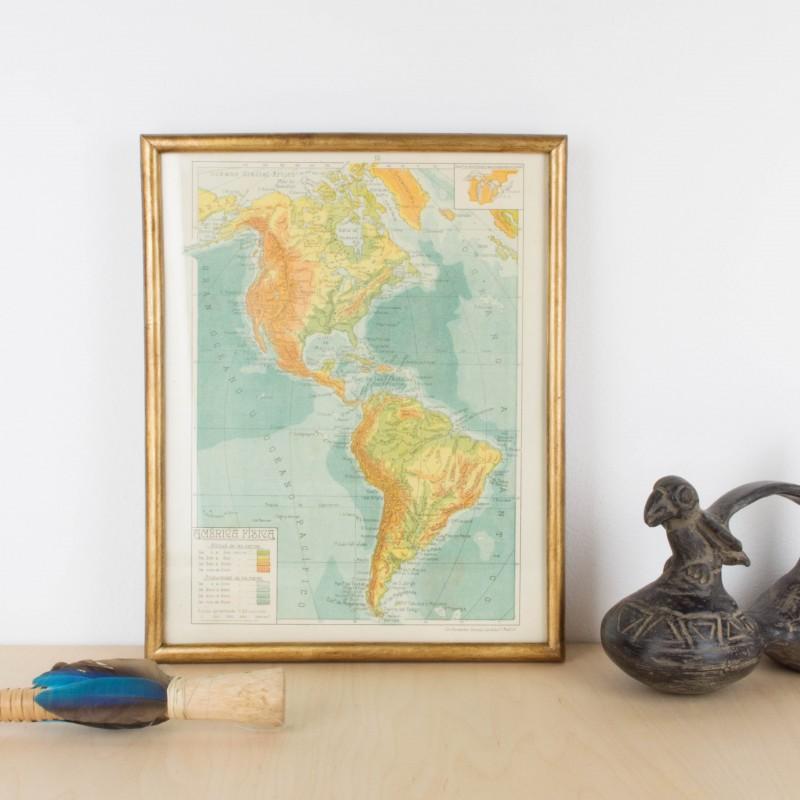 Mapa antiguo de América físico   Mapas y globos terráqueos   Objetos ...