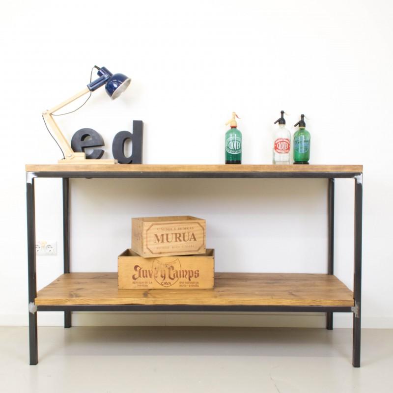 Mueble auxiliar de cocina de hierro y madera auxiliar for Mueble auxiliar rustico