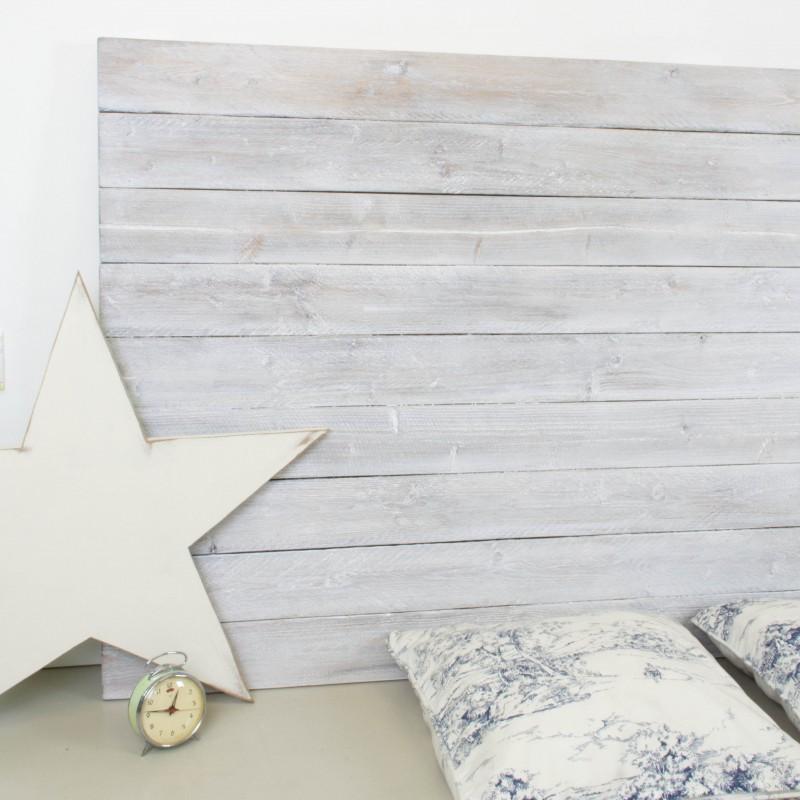 Cabecero de madera rústica acabado envejecido blanco | Otros | Muebles