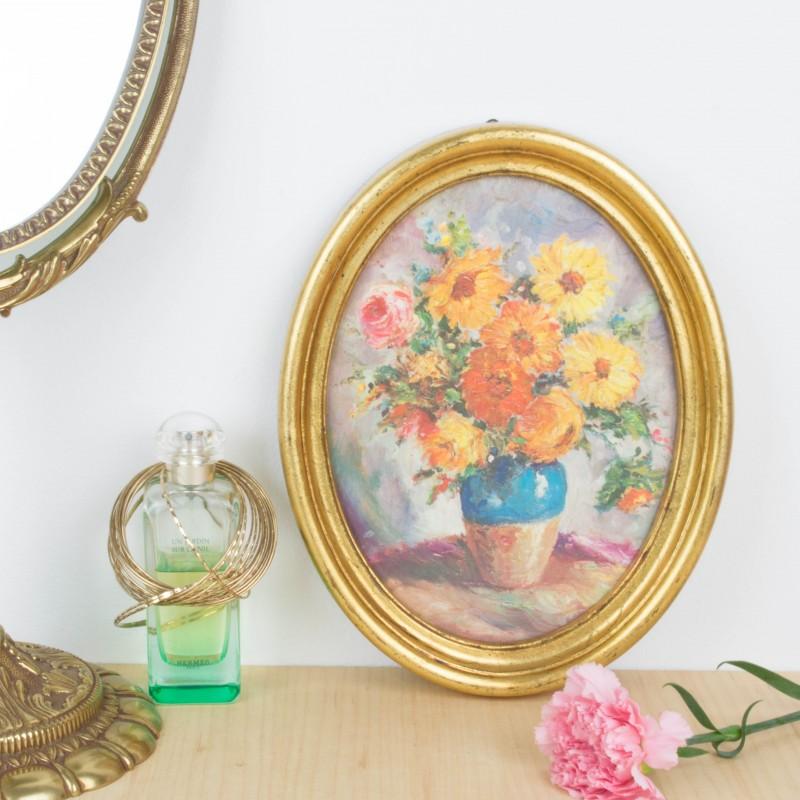 Marco dorado ovalado con reproducción de pintura | Marcos | Objetos ...