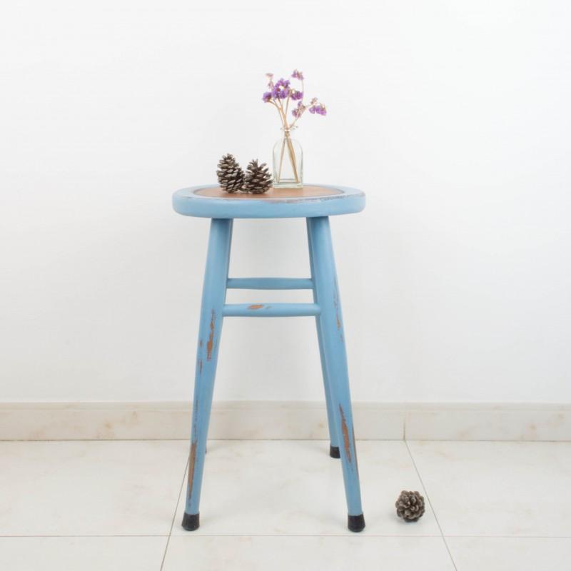 Taburete r stico azul auxiliar muebles - Taburetes rusticos ...