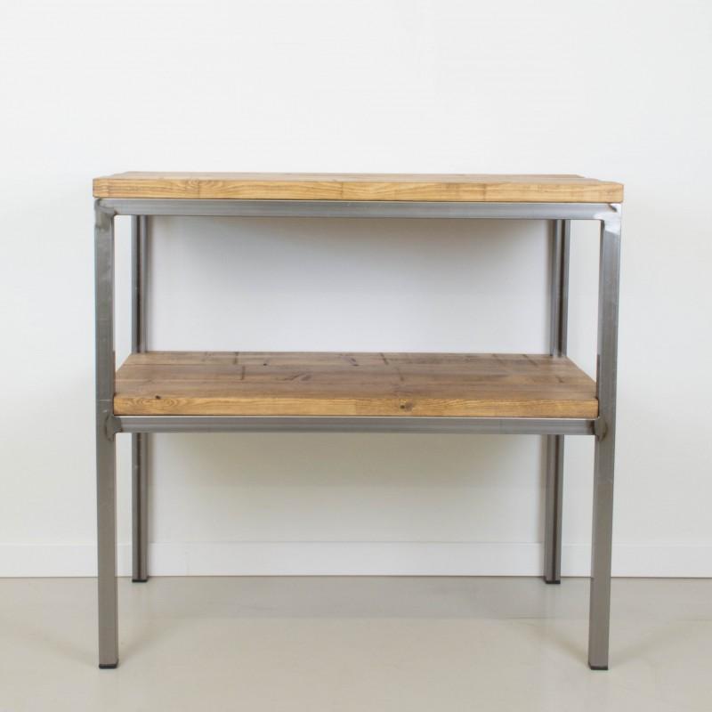 Mueble auxiliar de hierro y madera auxiliar muebles for Muebles cocina rusticos madera