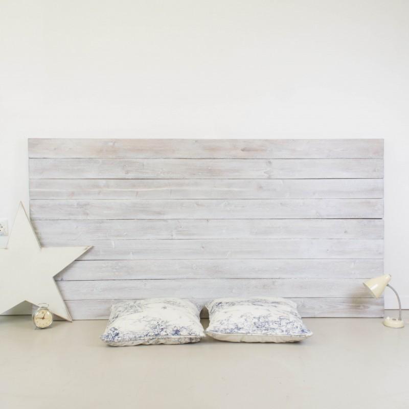 Cabecero de madera r stica acabado envejecido blanco otros muebles - Cabeceros de madera a medida ...